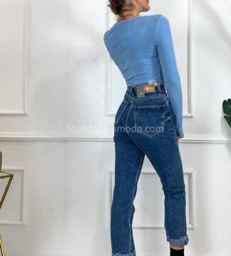 Jeans dritto sfrangiato