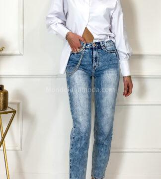 Jeans momfit slavato